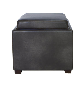 Cortesi Home Mavi Grey Wood Top Tray Storage Cube Ottoman in Bonded Leather