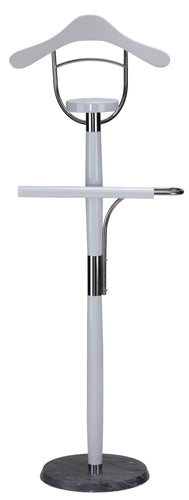 Cortesi Home Winfield Suit Valet Stand in Contemporary White Lacquer Wood
