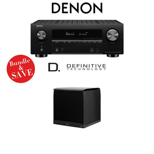 Denon AVR-X3500H 7.2-Channel 4K Ultra HD Home Theater Receiver + (1) Definitive Technology SuperCube4000 Powered Subwoofer - Bundle