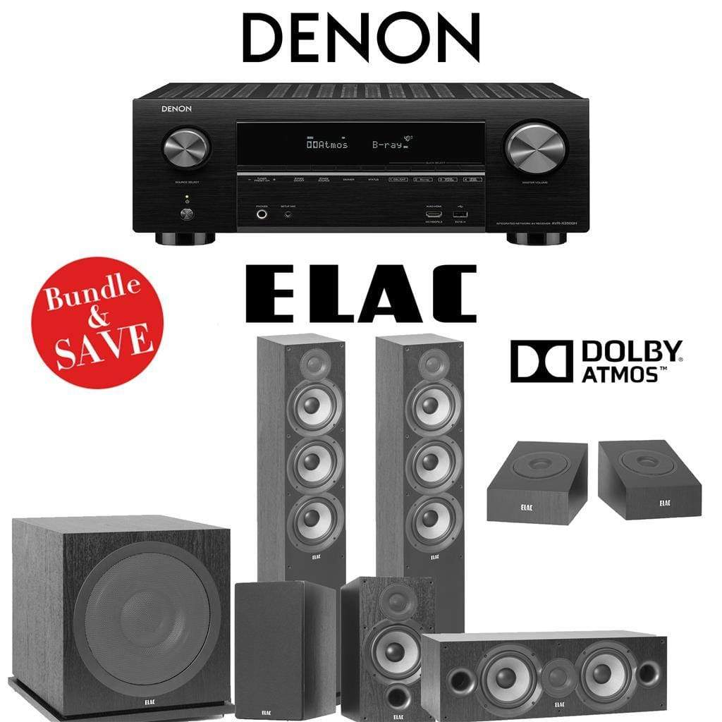 Elac F6.2 Debut 2.0 5.1.2-Ch Dolby Atmos Home Theater System with Denon AVR-X3500H 7.2-Channel 4K Networking AV Receiver - Stereo Advantage