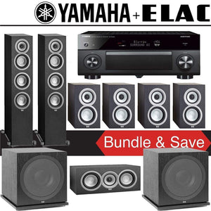 Elac Uni-Fi UF5 7.2-Ch Home Theater Speaker System with Yamaha AVENTAGE RX-A2080 9.2-Channel 4K Network A/V Receiver - Stereo Advantage
