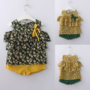 Toddler Kids Baby Girl Outfits Clothes Chiffon Print Shirt Tops+Shorts Pants Set