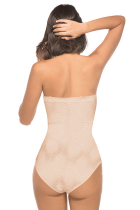Annette Women's Firm Control Strapless Bodysuit with Animal Print Like Pattern- UN0046BP
