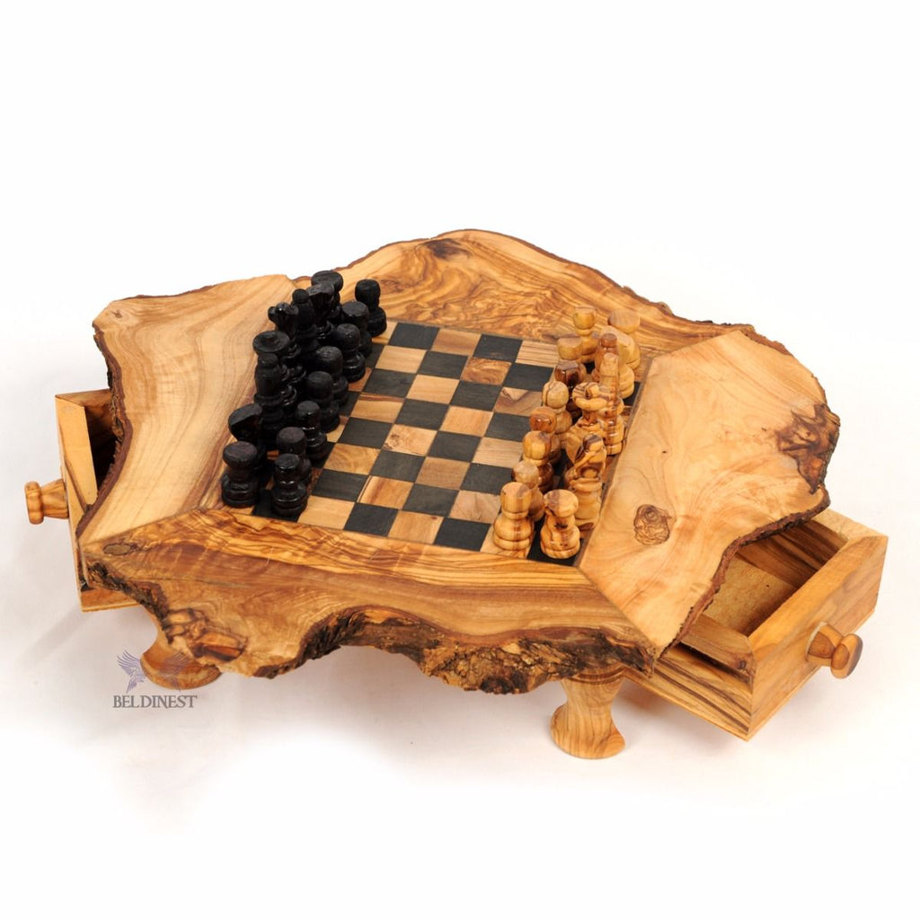 Rustic Olive Wood Chess Set- Small