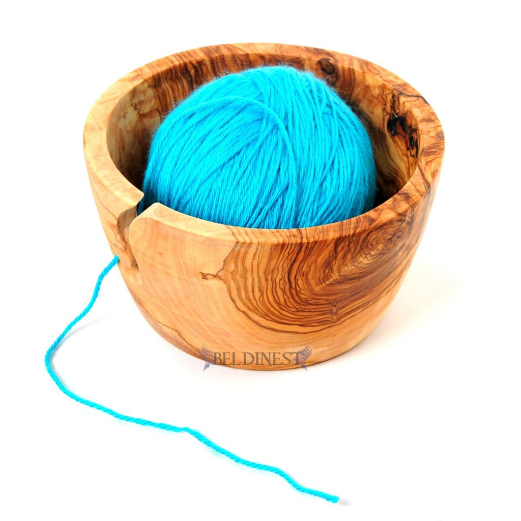 Wooden Yarn Bowl: Olive Wood Yarn Bowl