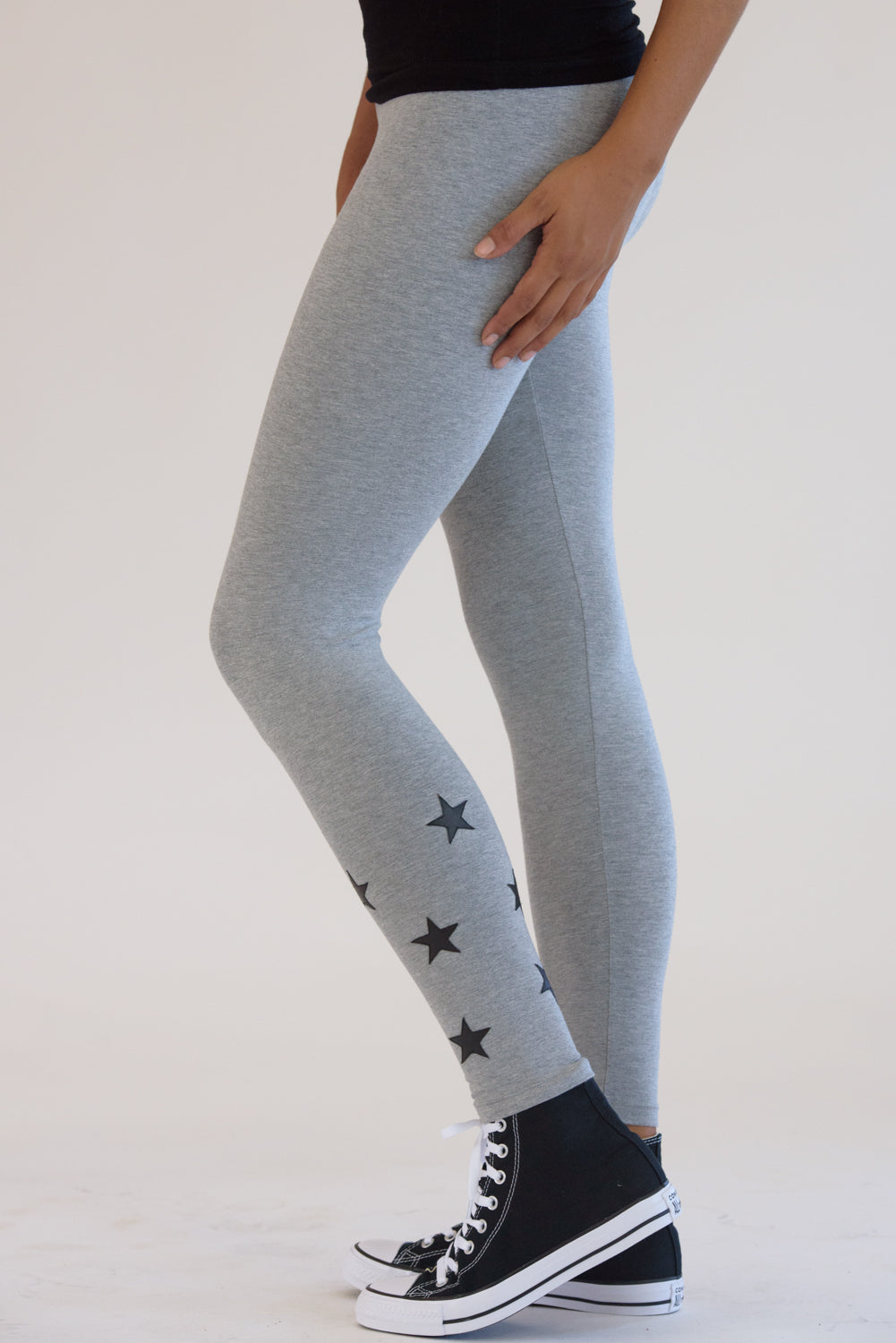 Heather Grey Leggings w/ Black Stars