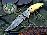 Custom Handmade Damascus Steel Folding Pocket Knife