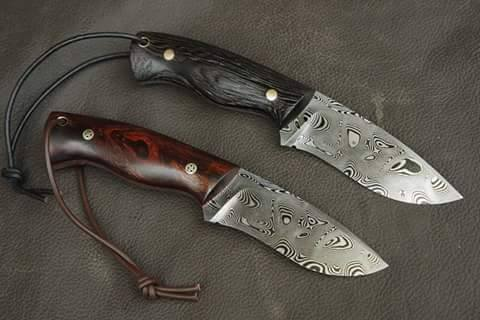 Custom Handmade Damascus Steel Flat Grind Edge Hunting/Skinning Knife