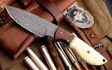 Custom Handmade Damascus Steel Skinning Hunting Knife