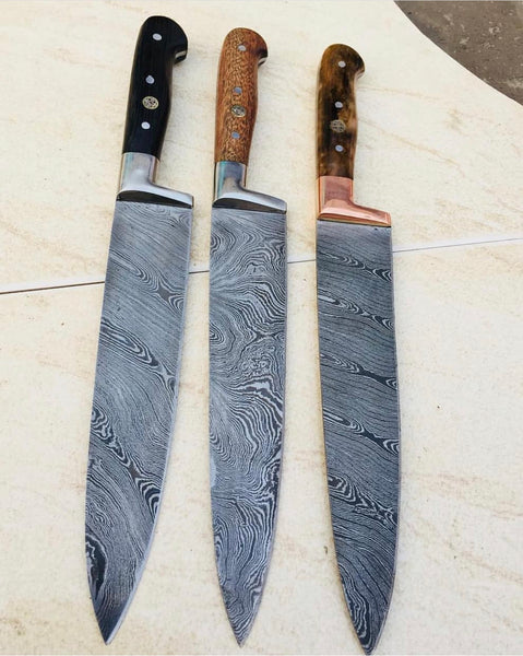 Damascus Steel 03 PCS Chef Knives Set ( Deal )