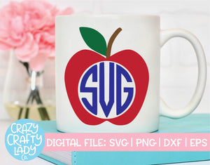 Apple Monogram Frame SVG Cut File