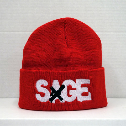 SAGE FRANCIS 'A Healthy Distrust' RED Folded Brim Knit Hat