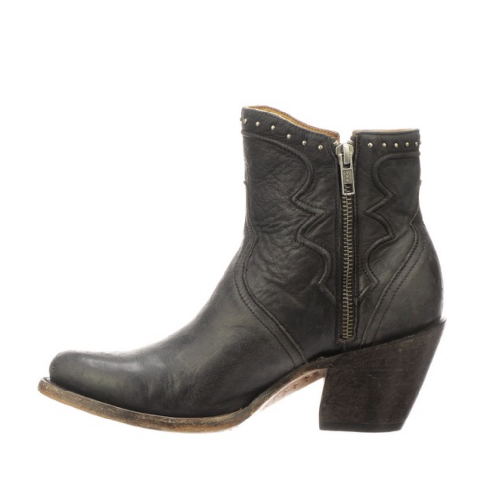 Lucchese Black Distressed Studded Bootie - headwestbozeman