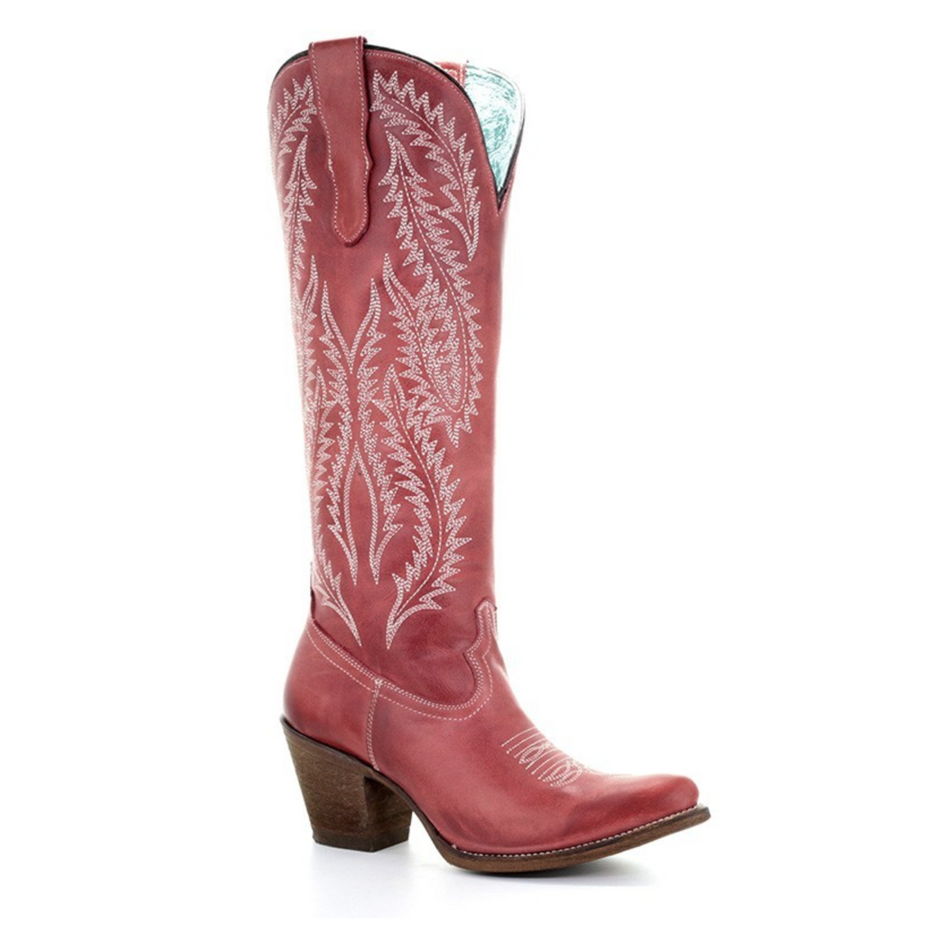 Red Tall Corral Boots w/ Embroidery - headwestbozeman