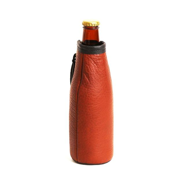 Bison Leather & Cowhide Bottle Koozie - headwestbozeman