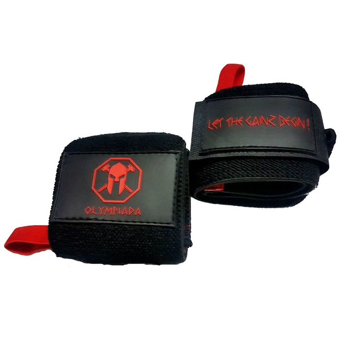 "Olympiada Gear 20"" Deluxe Wrist Wraps Black and Red"
