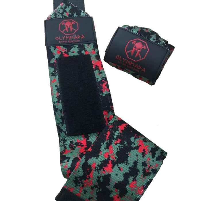 "Olympiada Gear 20"" Deluxe Wrist Wraps Green and Red Digi Camo"
