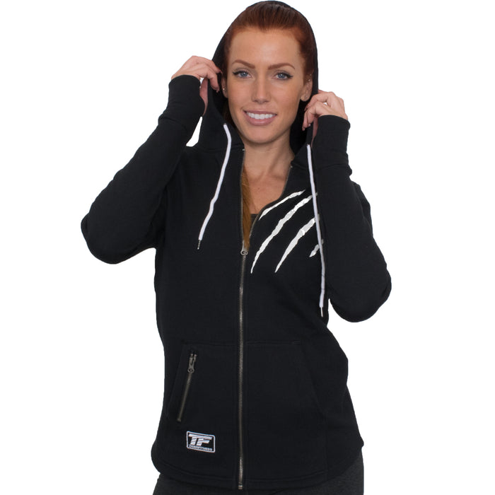 TF Full Zip Tiger Scratch Hoodie | Black - Large