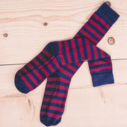 Silver Rugby Sock - Navy/Wine