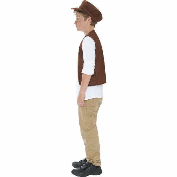 Victorian Urchin Street Boy Fancy Dress Costume Oliver Twist Waistcoat and Cap