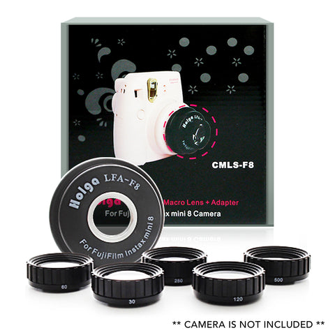 Holga CMLS-F8 Close up + Macro Lens + Adapter Kit for Fujifilm Instax Mini 7s 8 8+ 9