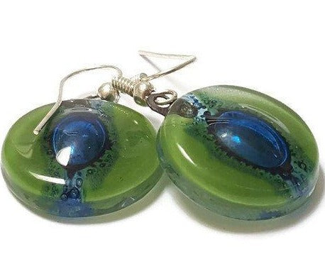 Round Green and Blue Dangle earrings. Recycled Fused Glass Drop Earrings. - Handmade Recycled Glass Jewelry