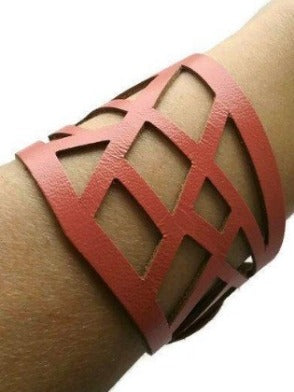 Barcelona Bracelet. Reclaimed Leather Cuff. Cuff Bracelet. Pink - Handmade Recycled Glass Jewelry