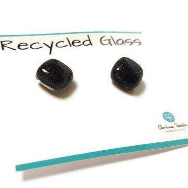 Post Earrings. Recycled glass Earrings. Black Earrings Studs, Fused Glass jewelry - Handmade Recycled Glass Jewelry