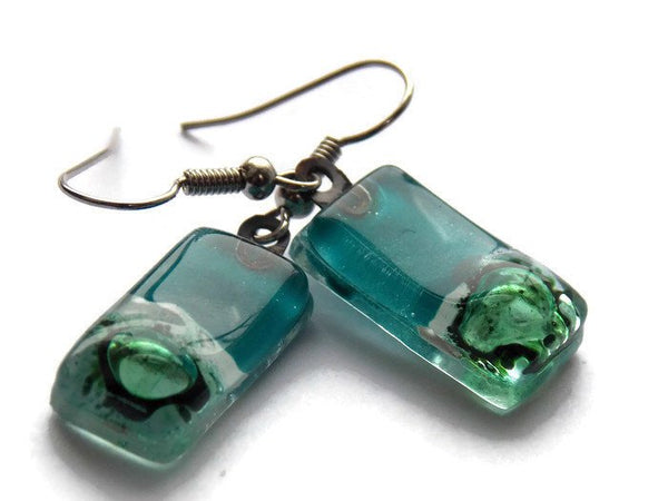 Teal and Green Small Rectangular Recycled Glass Drop Earrings, Fused Glass Dangle earrings - Handmade Recycled Glass Jewelry