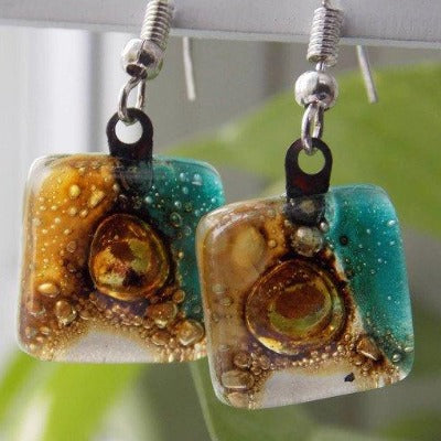 Small teal, yellow and Brown small Square recycled Glass earrings - Handmade Recycled Glass Jewelry