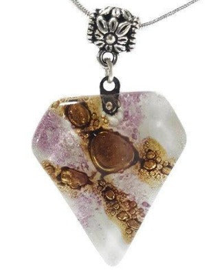 Fused Glass Pendant . White, Purple and Brown Glass Necklace. Gift under 20. Handmade pendant
