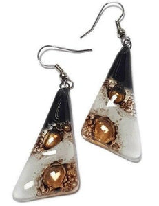 Black,  White and Brown triangles. Recycled fused glass drop earrings. Long dangle earrings - Handmade Recycled Glass Jewelry