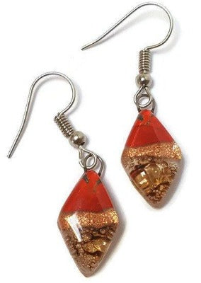 NEW Small Diamond Shaped Red, Copper and brown Recycled Fused Glass Earrings