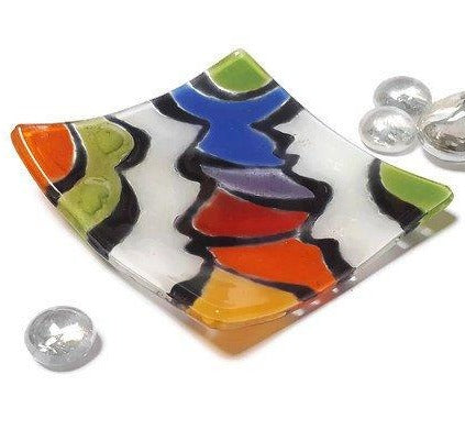 Awesome small tray. Mini Jewelry dish. Recycled Glass Ring holder.