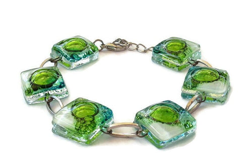 Recycled Fused Glass Green, Turquoise and White Bracelet