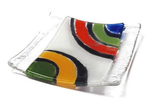 Awesome small tray. Mini Jewelry dish. Recycled fused Glass Ring holder.