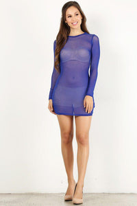 Royal Blue Mesh Mini Dress