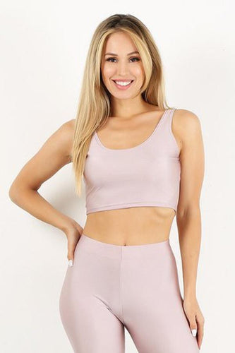 Light Pink Shiny Crop Tank