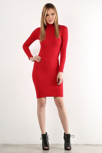 Red Long Sleeve Sweater Dress