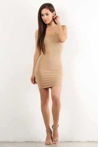 Beige Low Back Tank Mini Dress