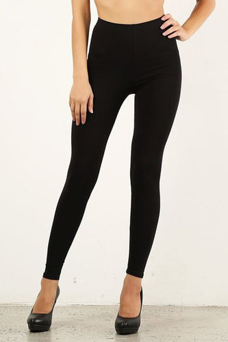 Black Mid Waist Cotton Leggings