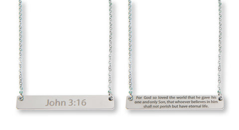 John 3:16 Silver Bar Necklace