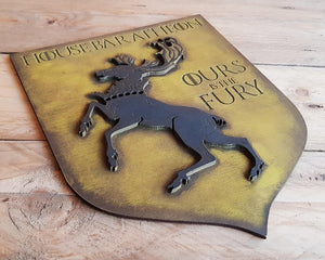 House Baratheon, Banner wood sign of Game of Thrones.