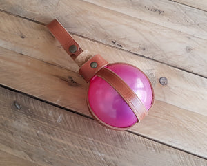 Pink Potion Bottle with Leather Holder.