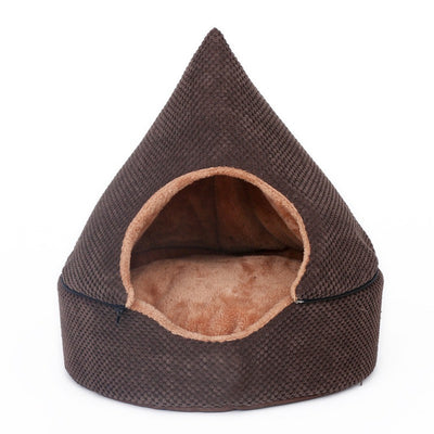 Pet Sleeping Bed Tent Design With Washable Cushion Brown - Pets.al
