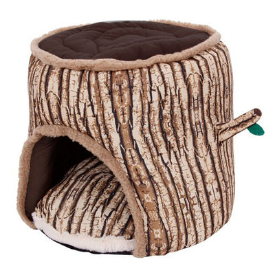 Soft Plush Pet Sleeping House Bed Tree Stump Design - Pets.al