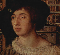 painting of ambrosius holbein wearing hat and smocked shirt