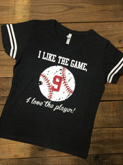 Vintage Baseball, Distressed Baseball Number Tee, Baseball Mom Tee, Softball Number Tee, I like the game but love the player, Jersey Style