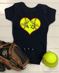 Softball Onesie | Softball Onesie with Names | Custom Baby Onesie |  Cute Baby Outfit | Newborn Baby Outfit |