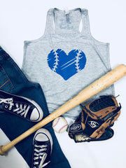 Vintage Baseball Heart Tank, Youth Size Baseball Heart, Baseball Tank, Softball Tank, Ball Sister Tank, Youth Flowy Racerback Tank